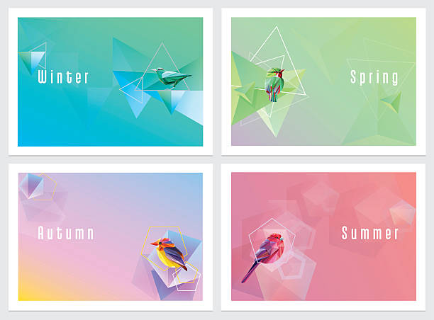 modern colorful four seasons wallpapers with geometric shapes and birds - four seasons stock illustrations