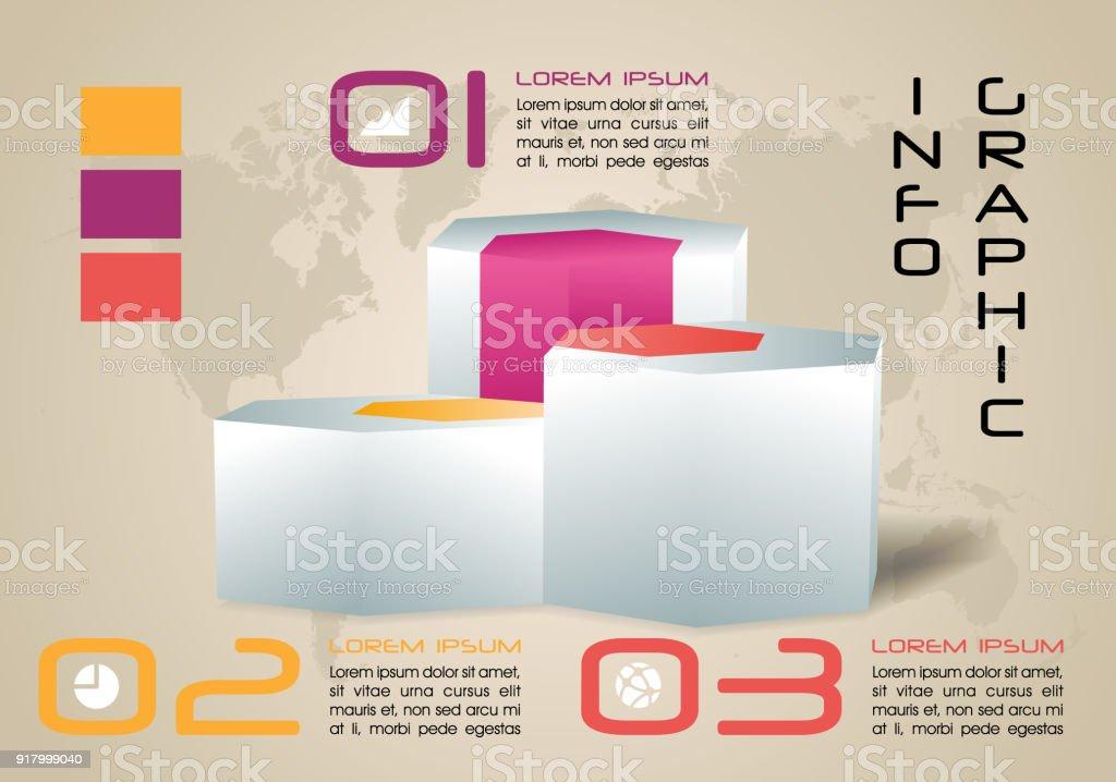 Moderne Farbige Infografiken Optionen Vorlage Vektor Mit 3d Sechseck ...