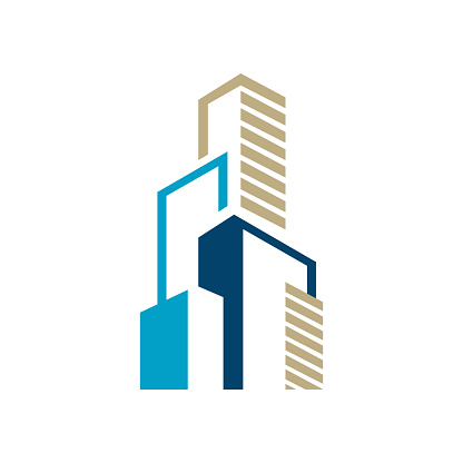 Modern Colorful Realty Skyline Building logo design graphic style.