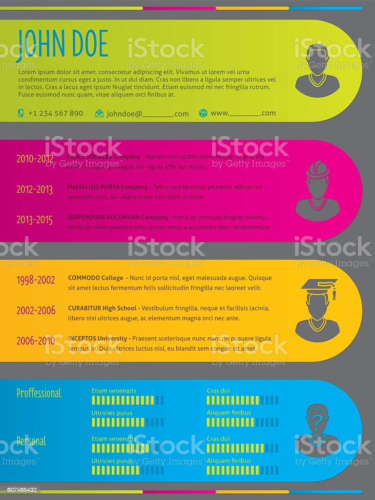 modern colorful resume cv template with color labels stock vector art  u0026 more images of