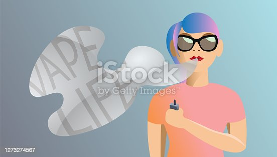 "istock Modern colorful vaping female character with ""Vape Life"" text 1273274567"