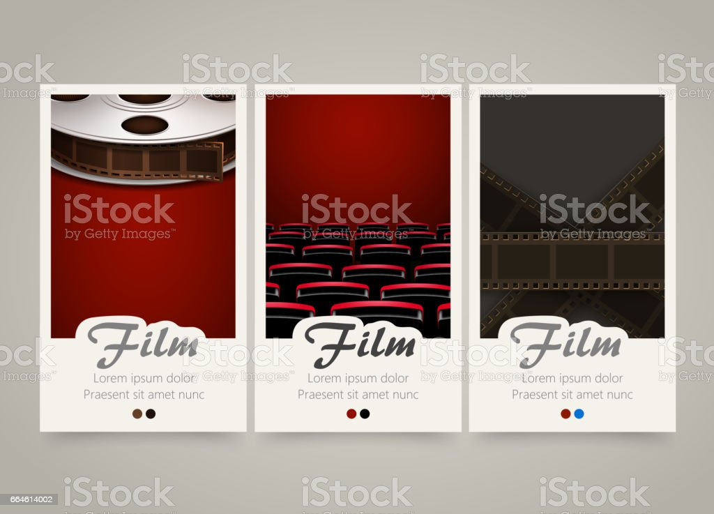 Modern colorful vertical cinema banners. Film, movie flyer or invitations. royalty-free modern colorful vertical cinema banners film movie flyer or invitations stock illustration - download image now