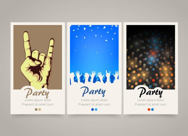 ilustrações, clipart, desenhos animados e ícones de moderno e colorido banners verticais de música. de série. - festa da empresa