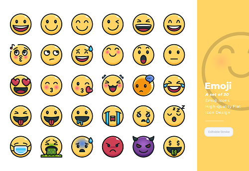 Modern Colorline icons set of Emotional and Emoji. 48x48 Pixel Perfect icon. Editable Stroke.