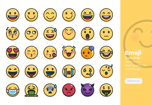 感情と絵文字の近代的な colorline アイコンセット。48x48 ピクセルパーフェクトアイコン。編集可能なストローク。 - 笑顔点のイラスト素材/クリップアート素材/マンガ素材/アイコン素材