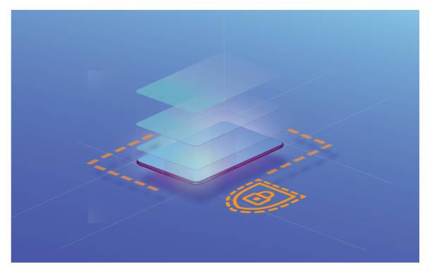 Modern communication design Illustration of a mobile phone layered stock illustrations