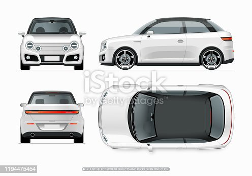 Modern compact city car mockup. Side, top, front and rear view of realistic small white noname car isolated on white background. Easy to recolor in one click