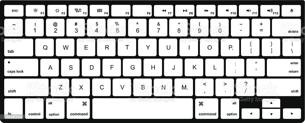 Modern  computer keyboard isolated on white vector art illustration