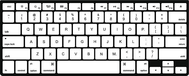 modern  computer keyboard isolated on white - computer keyboard stock illustrations, clip art, cartoons, & icons