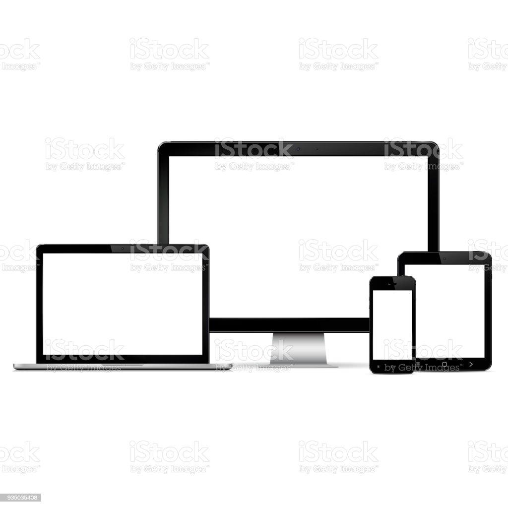 Moderne Computer-Monitor, Laptop, digitale Tablet und Handy mit leerer Bildschirm – Vektorgrafik