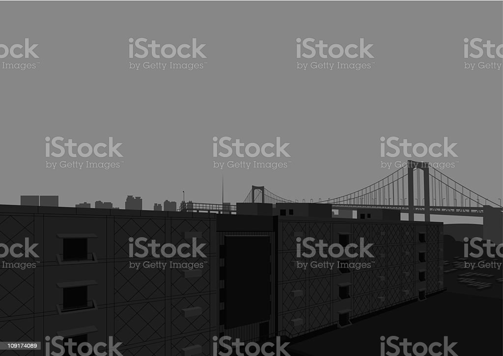 modern container wharf and bridge vector art illustration