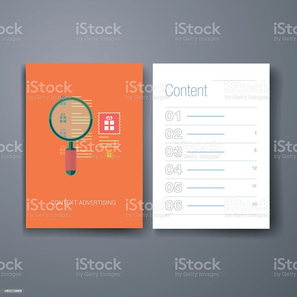 Modern context ad and products search flat icon cards design
