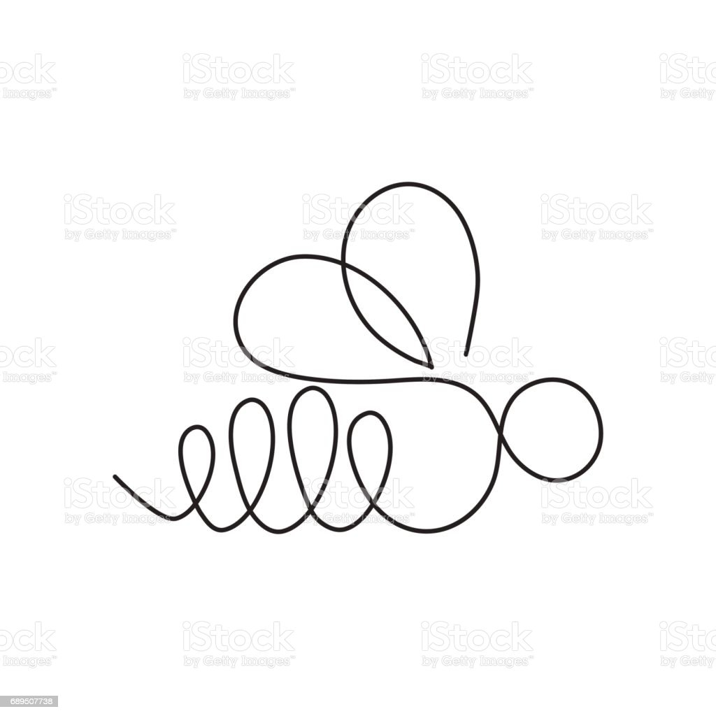 Line Art Converter Software : Modern continuous line bee one drawing of insect form