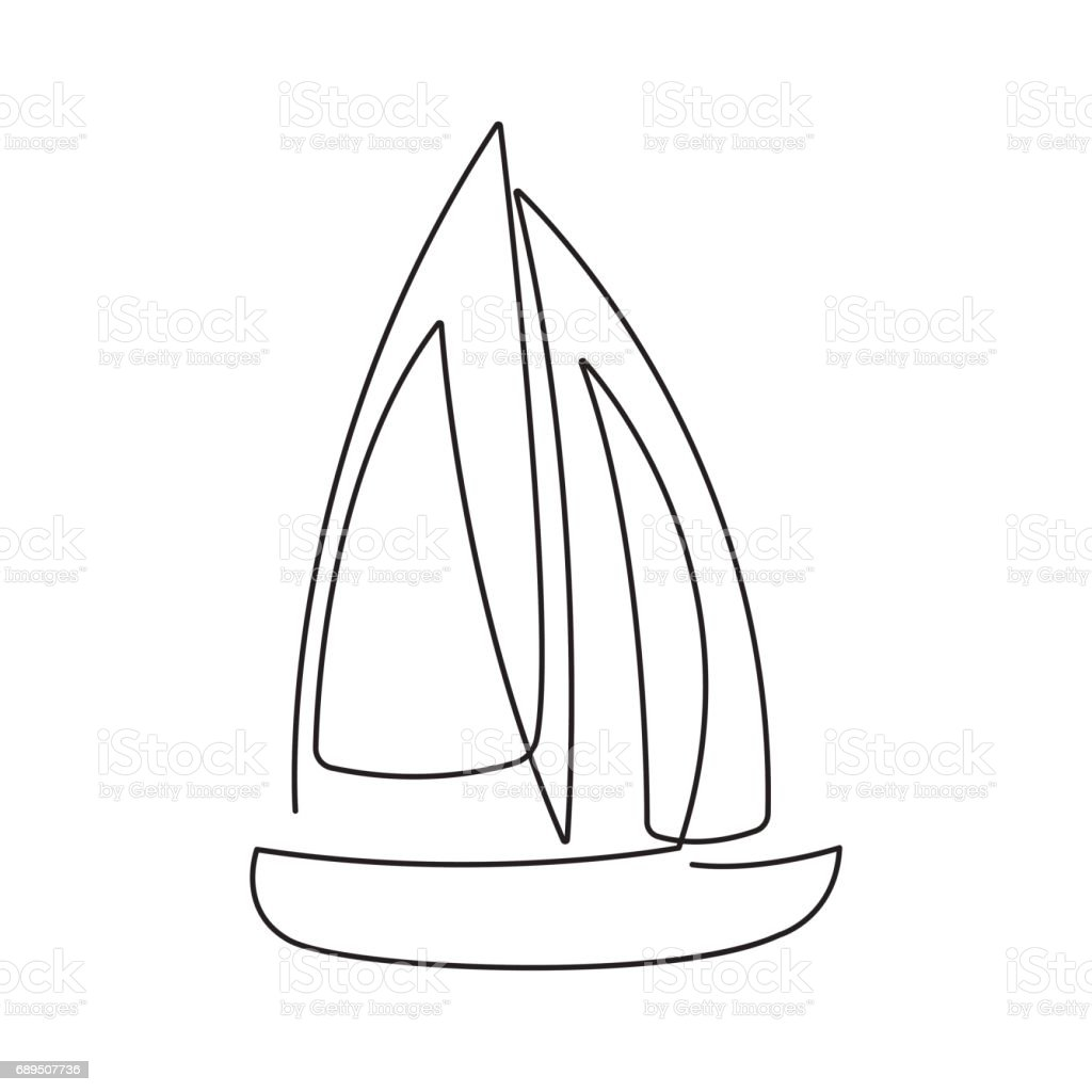 Line Drawing Ship : Modern continuous line sailing boat one drawing of