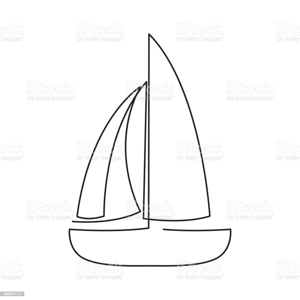 modern continuous line sailing boat one line drawing of ship form