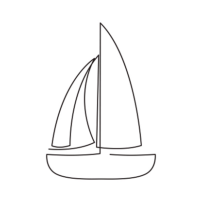 Modern Continuous Line Sailing Boat One Line Drawing Of
