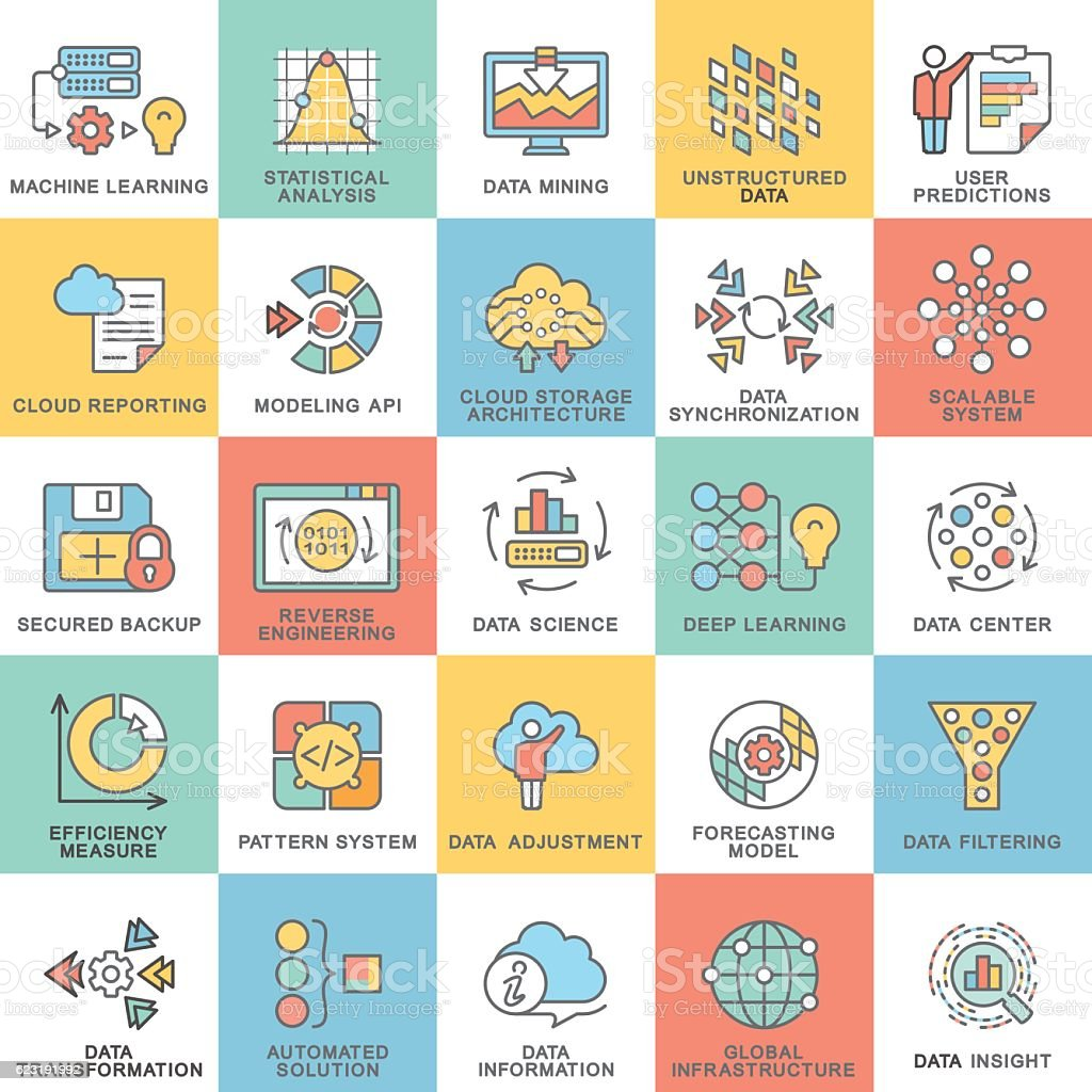 Modern contour icons database processing methods of data. vector art illustration