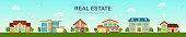Modern cottage house set. Real Estate concept. Flat Style American or Sweden Townhouse. Vector illustration