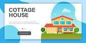 Modern cottage house. Web page design template. Real Estate concept. Flat Style American or Sweden Townhouse. Vector illustration
