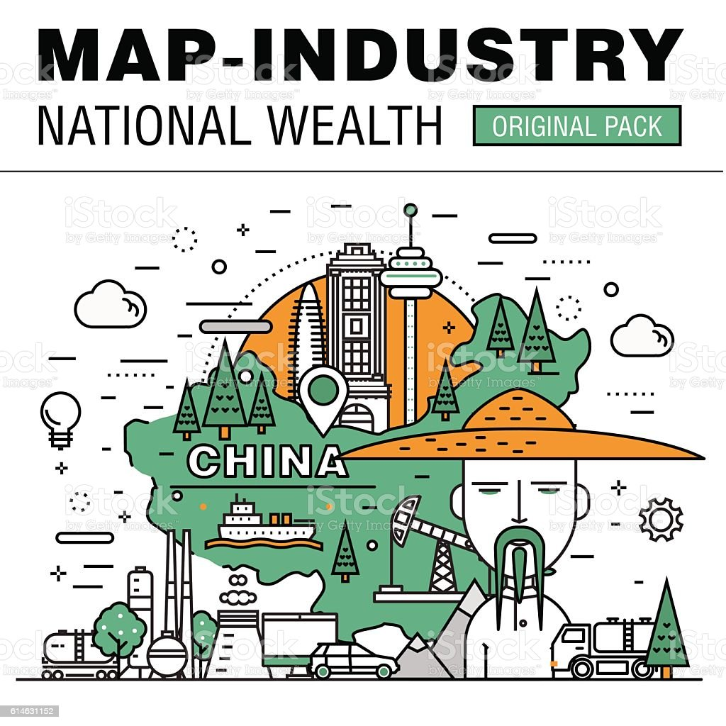Modern country development flat industry. Thin line map concept vector art illustration