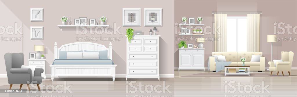 Modern country house interior background with bedroom and living room...