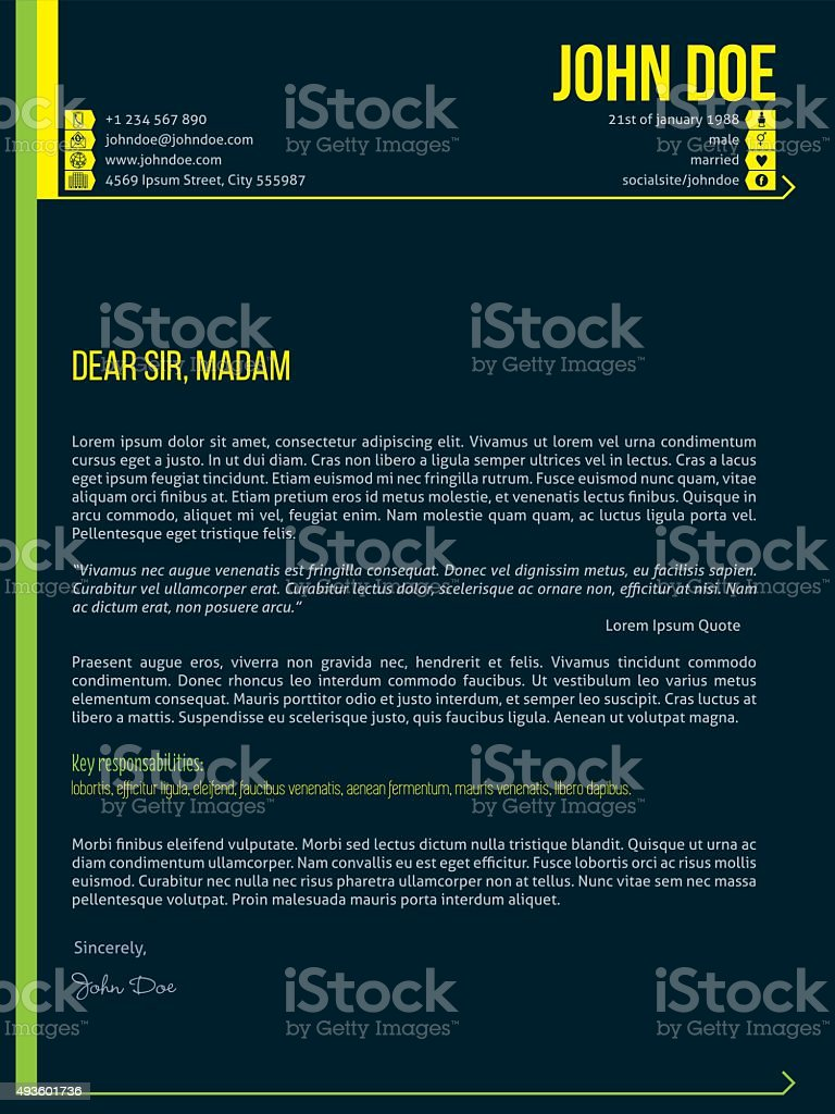 modern cover letter cv resume template with arrows stock