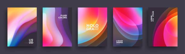 ilustrações, clipart, desenhos animados e ícones de design moderno modelo de capas. cores de fluido. conjunto de formas na moda holográfica gradiente para apresentação, revistas, folhetos, relatórios anuais, cartazes e cartões de visita - misturando