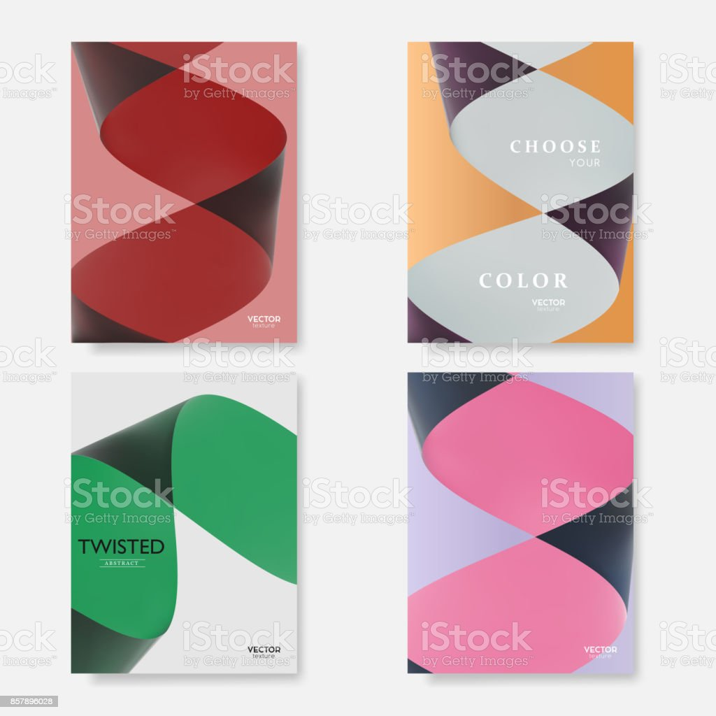 Modern covers with colorful twisted paper shapes. Trendy abstract minimal material design, vector template.