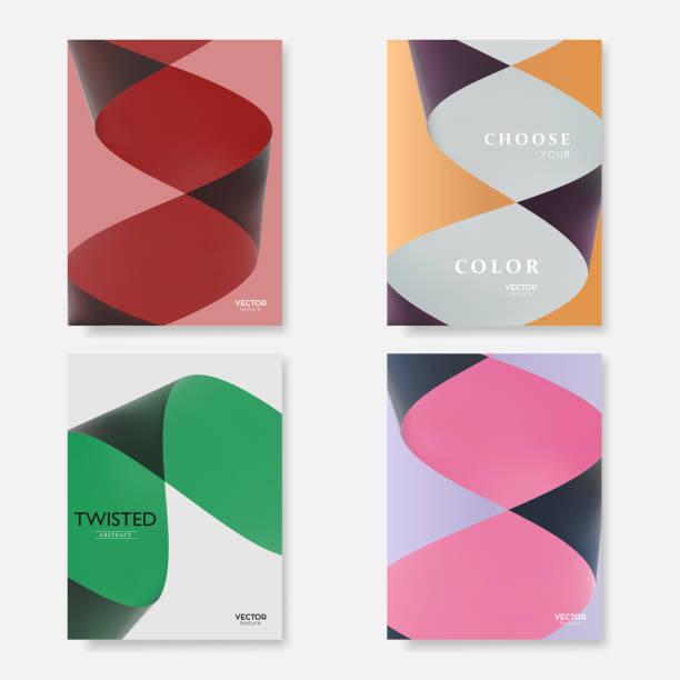 moderne abdeckungen mit bunten verdrehten papier formen. trendige abstrakte minimal materialdesign, vektor vorlage. - verdreht stock-grafiken, -clipart, -cartoons und -symbole