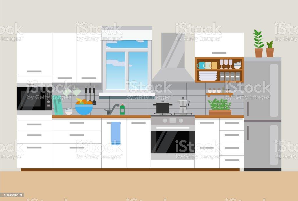 Modern mysig kök interiör, platt stil, vektor grafisk designmall - Royaltyfri Boningsrum vektorgrafik