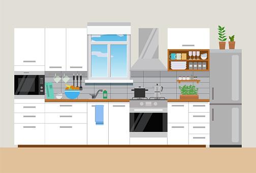 Modern cozy kitchen interior, flat style, vector graphic design template