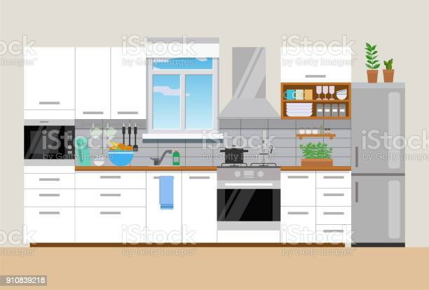 Modern Mysig Kök Interiör Platt Stil Vektor Grafisk Designmall-vektorgrafik och fler bilder på Boningsrum