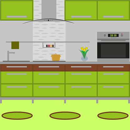 Modern cozy kitchen interior with little carpets and the oven. Flat style. Vector illustration.