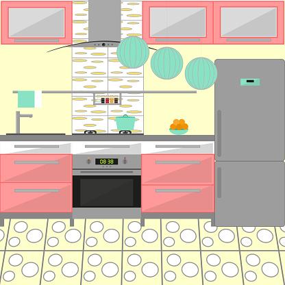 Modern cozy kitchen interior with the fridge. Flat style. Vector illustration.
