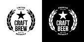 Modern craft beer drink isolated vector logo sign for bar, pub, store, brewhouse or brewery. Premium quality logotype emblem illustration template set. Brewing fest fashion t-shirt badge design bundle.