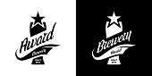 Modern craft beer drink isolated vector logo sign for bar, pub, store, brewhouse or brewery. Premium quality glass logotype emblem illustration set. Brewing fest fashion t-shirt badge design bundle.