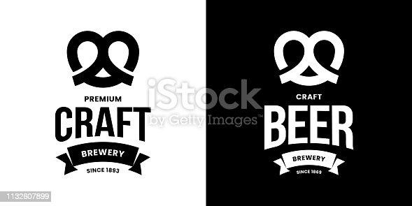 Modern craft beer drink isolated vector logo sign for bar, pub, store, brewhouse or brewery. Premium quality pretzel logotype emblem illustration set. Brewing fest fashion t-shirt badge design bundle.
