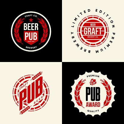 Modern craft beer drink vector isolated logo sign for bar, pub, brewery or brewhouse.