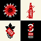 Modern craft beer drink vector isolated   sign for bar, pub, brewery or brewhouse. Premium quality bottle  type tee print badge illustration. Brewing fest fashion t-shirt emblem design set.