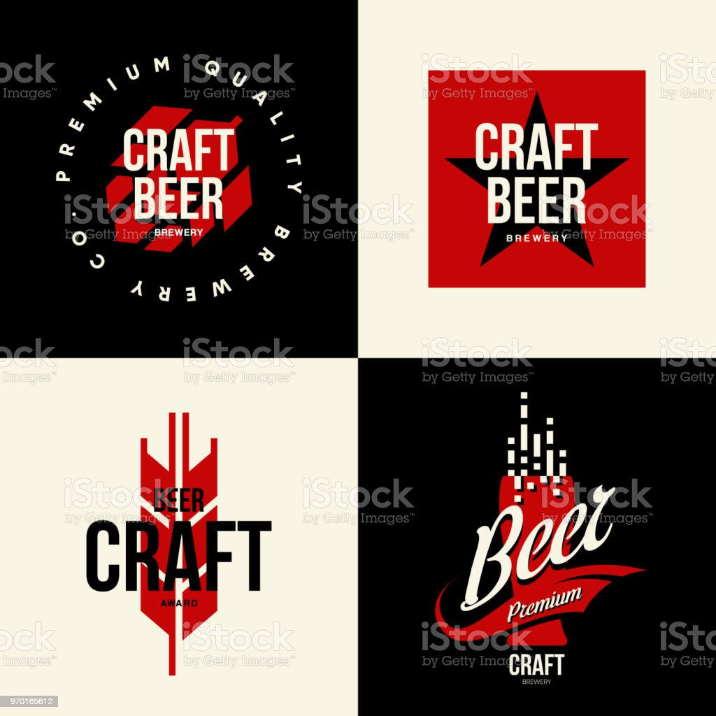 Modern Craft Beer Drink Vector Isolated Sign For Bar, Pub, Brewery Or  Brewhouse.