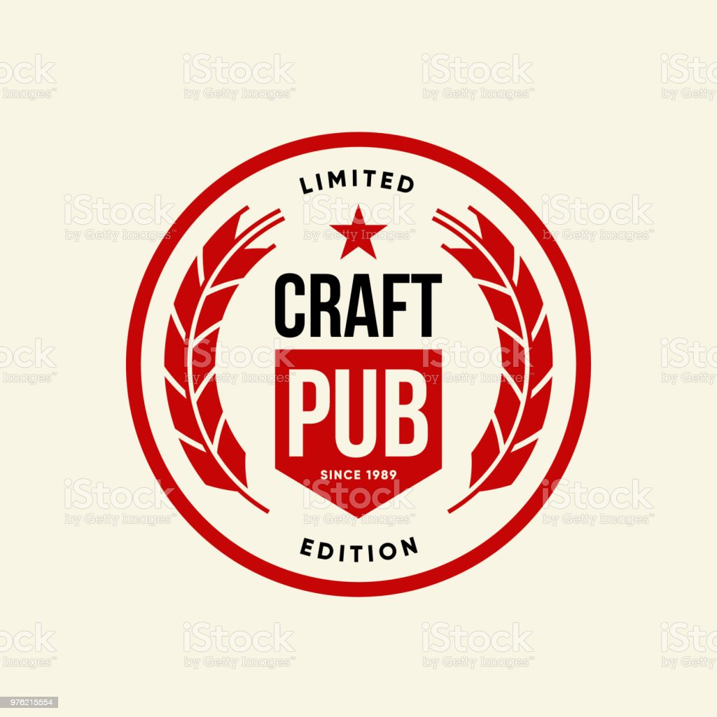 Modern Craft Beer Drink Vector Logo Sign For Bar, Pub, Brewhouse Or Brewery  Isolated