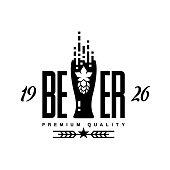 Modern craft beer drink vector logo sign for bar, pub or tavern, isolated on white background. Premium quality hop logotype tee print badge illustration. Brewing fest fashion t-shirt emblem design.