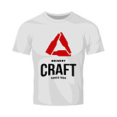 Modern craft beer drink vector logo sign for bar, pub, store, brewhouse or brewery isolated on white t-shirt mock up. Premium bottle triangle logotype illustration. Brewing fest fashion badge design.