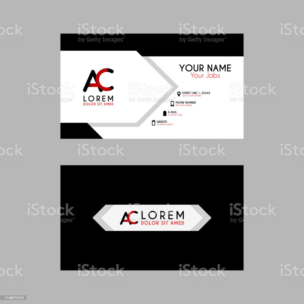 Modern Creative Business Card Template With Ac Ribbon Letter Logo Ca