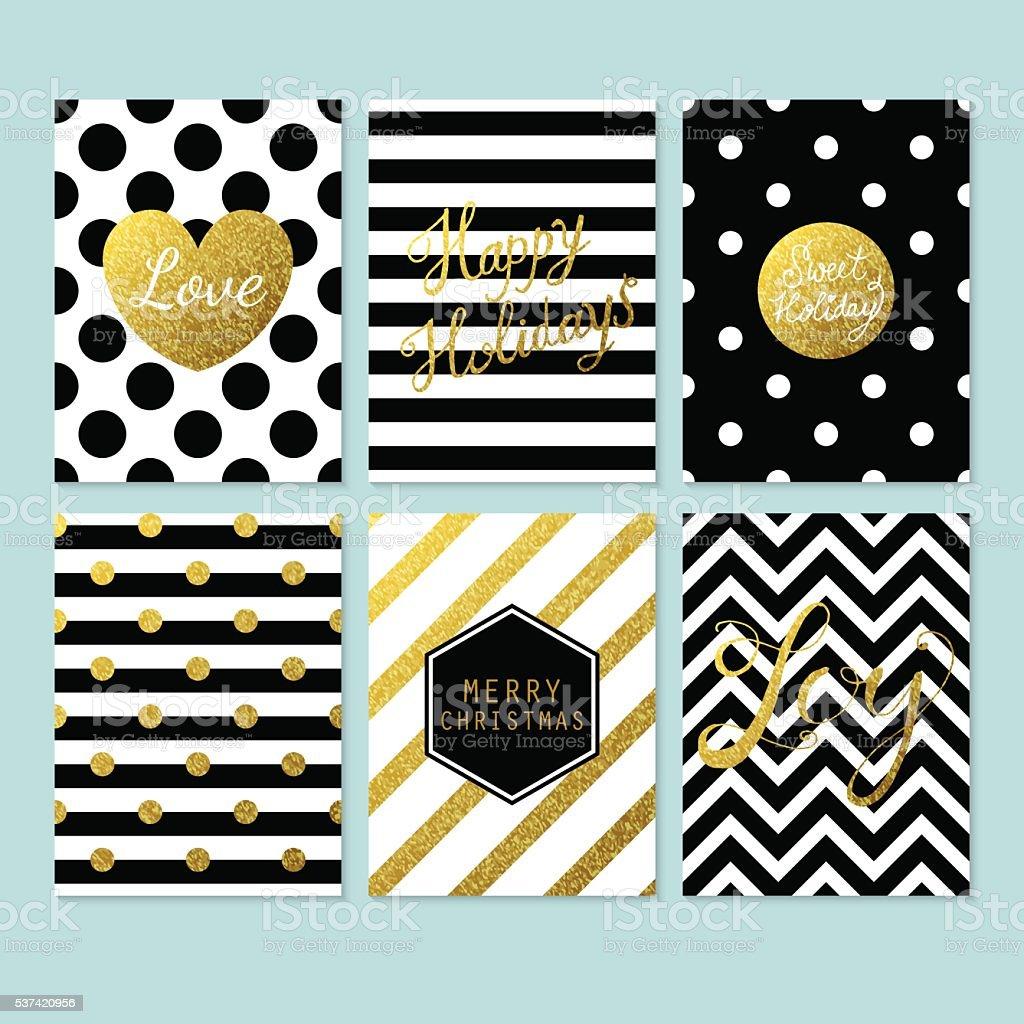 モダンなクリスマスカード、ブラック、ゴールド、ホワイト ベクターアートイラスト
