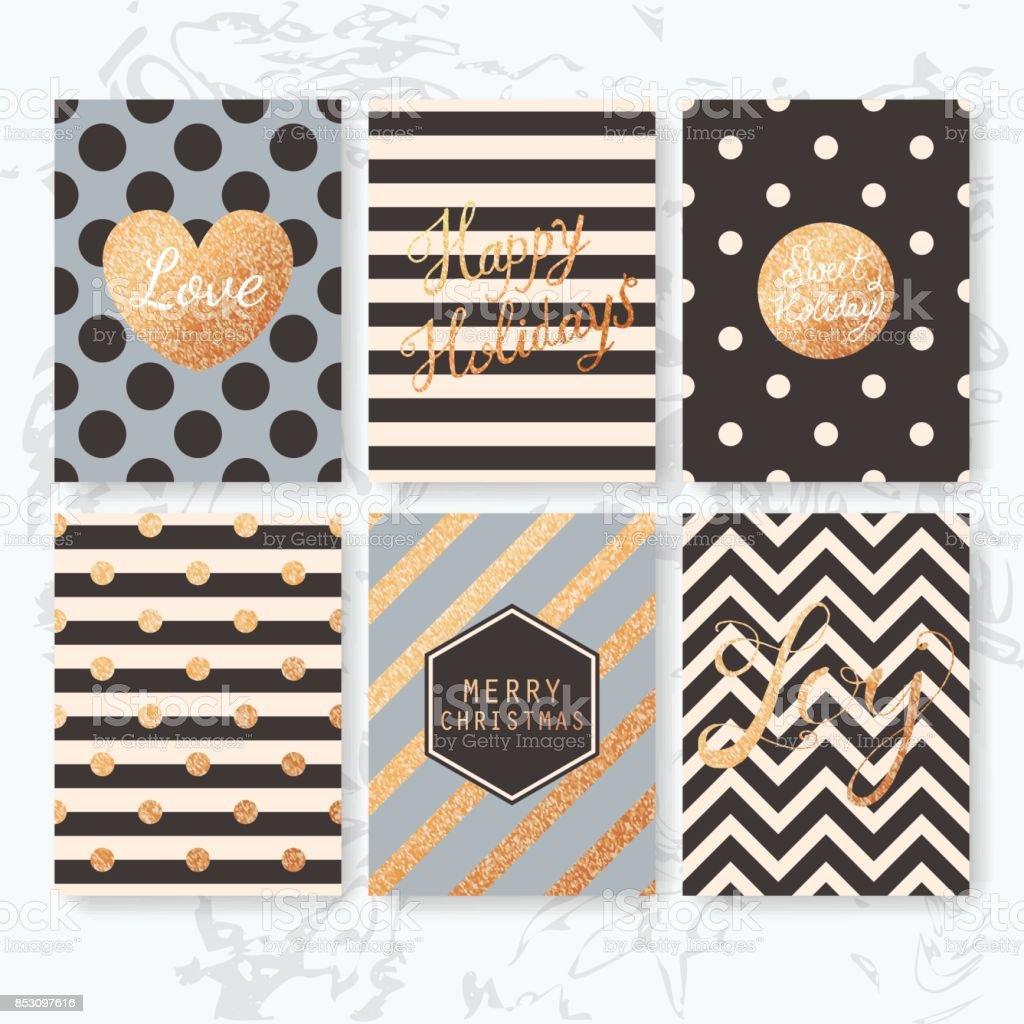 Kreative Weihnachtskarten.Moderne Kreative Weihnachtskarten Stock Vektor Art Und Mehr Bilder