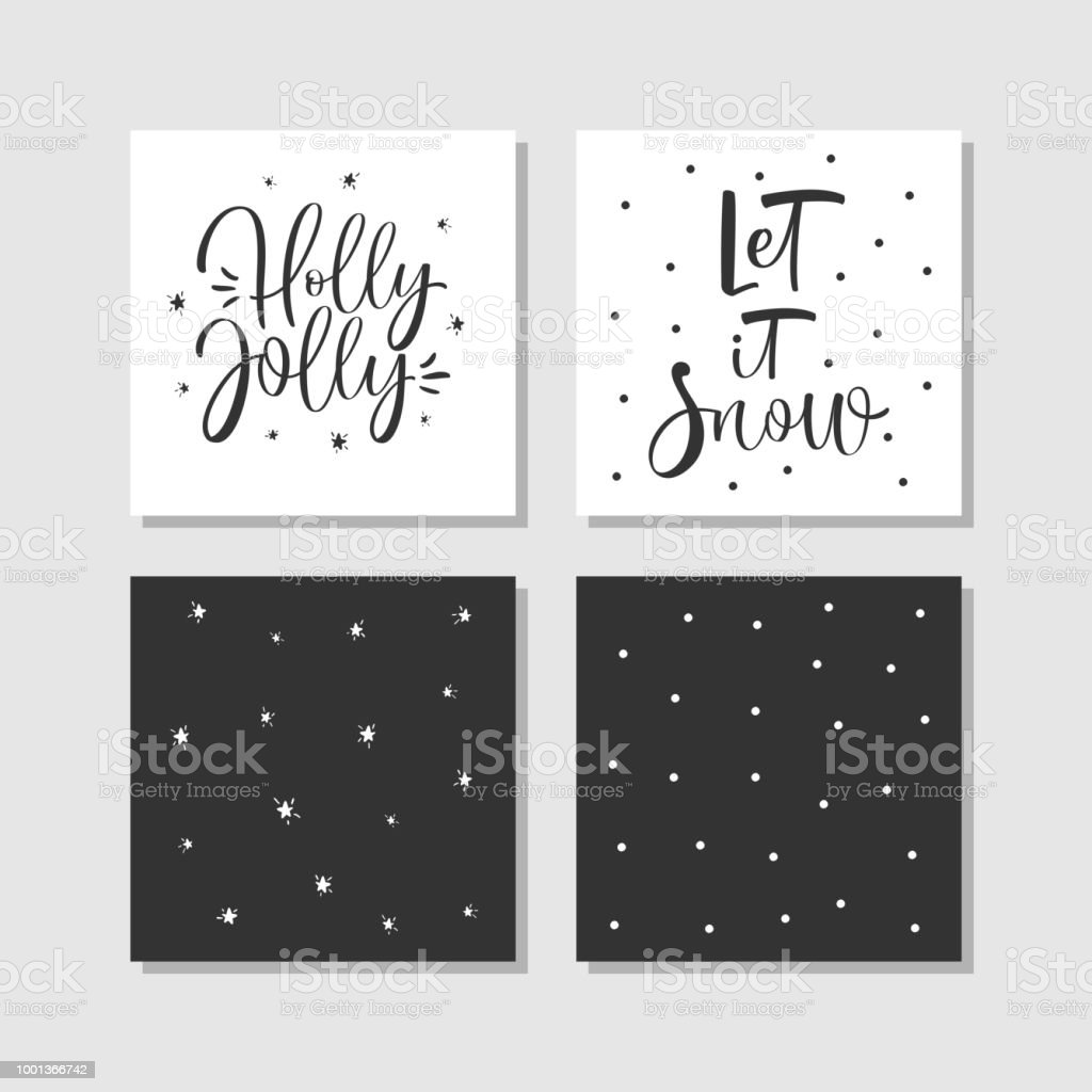 Modern Creative Christmas Cards With Hand Drawn Calligraphy In Black ...
