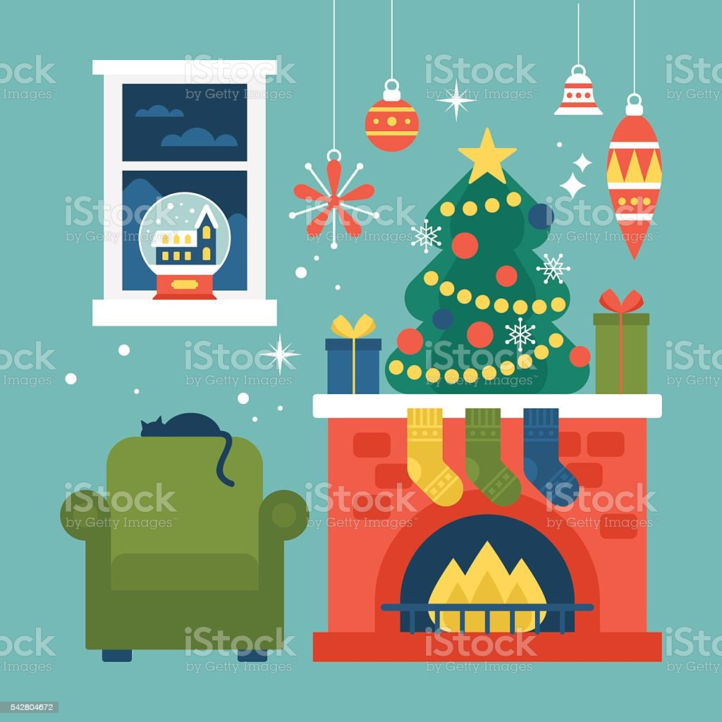 Modern Creative Christmas Greeting Card Design With Christmas Tree