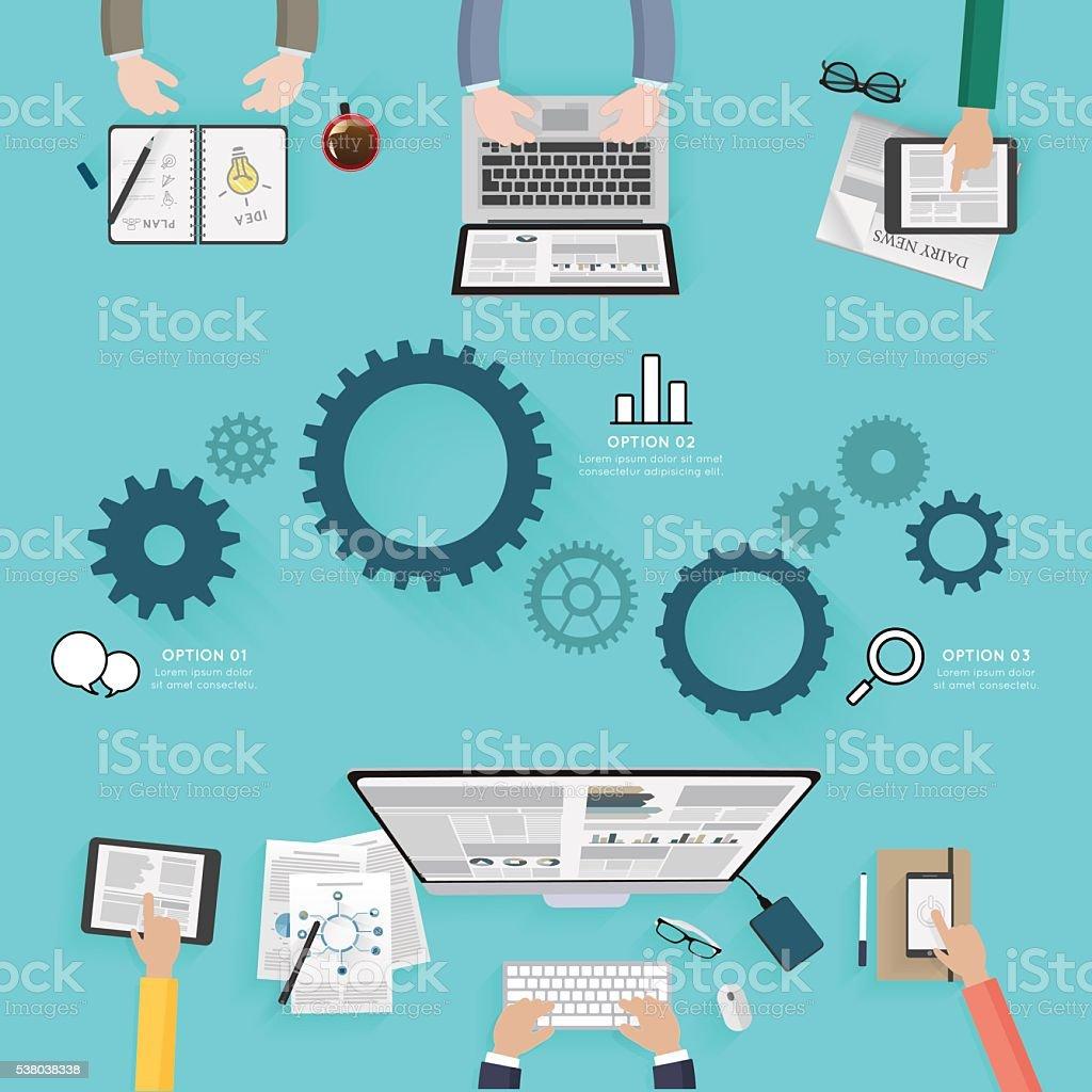 Modern creative office workspace infographic vector art illustration