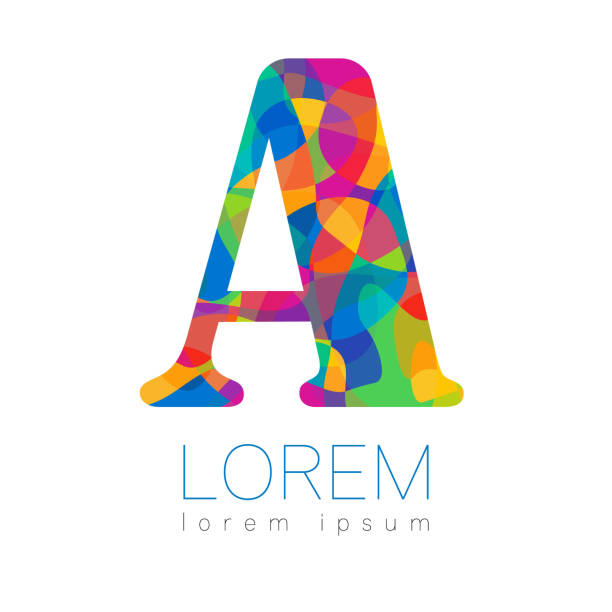 Modern   . Creative style.  type in vector. Design concept. Brand company. Rainbow bright puzzle color letter A on white background. Symbol for web, print, card, flyer. vector art illustration